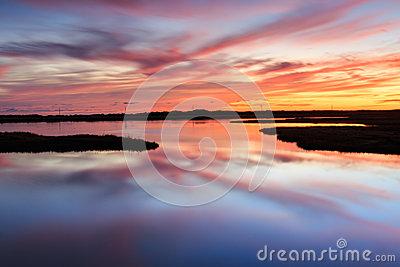 Sunrise Marsh Bodie Island Outer Banks North Carolina NC Stock.