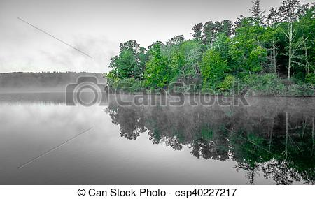 Stock Photography of Grandfather Mountain Sunrise Reflections on.