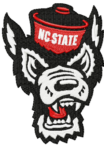 North Carolina State Angry wolf embroidery design.