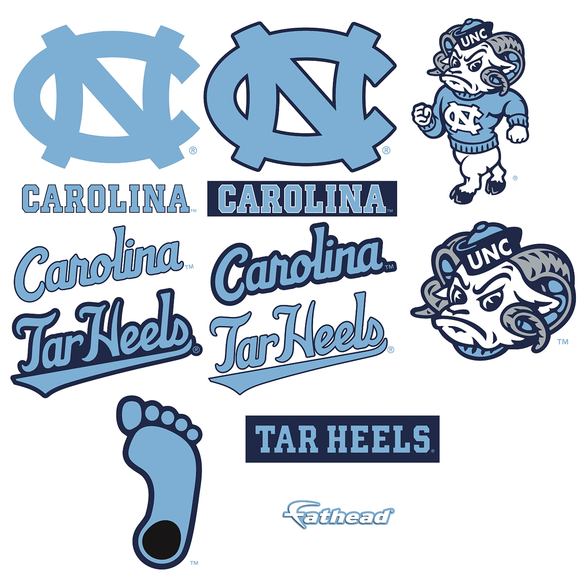 North Carolina Tar Heels: Logo Assortment.