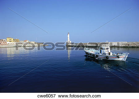 Picture of Port town of Chania (Xhania) with lighthouse on north.