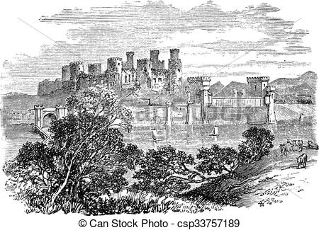 Vector of Aberconway Castle, now known as Conway Castle, in the.