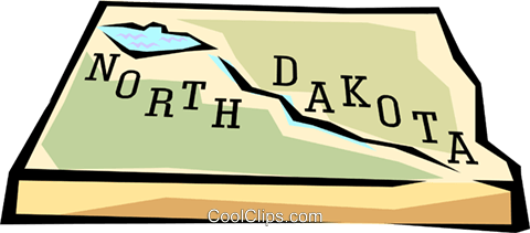 North Dakota state map Royalty Free Vector Clip Art.