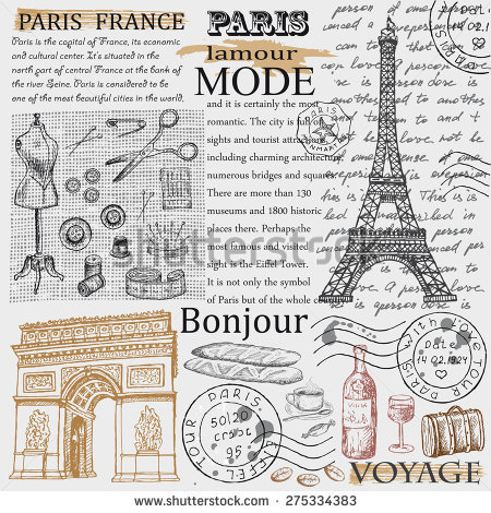 Paris Eiffel Tower Hand Drawing Set Stock Vector 249596269.