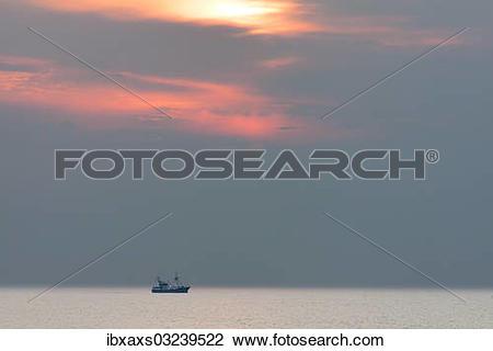 "Stock Photo of ""Shrimp boat at sunset, Hornum, Westerland, Sylt."