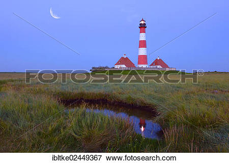 """Picture of """"Westerheversand lighthouse, moon, composing."""