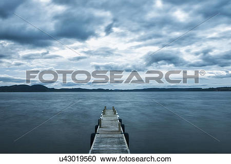 Stock Photography of Wooden pier, Taupo, North Island, New Zealand.