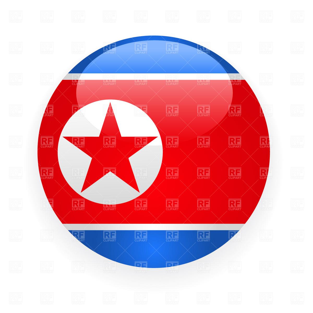 North Korea button flag icon Stock Vector Image.