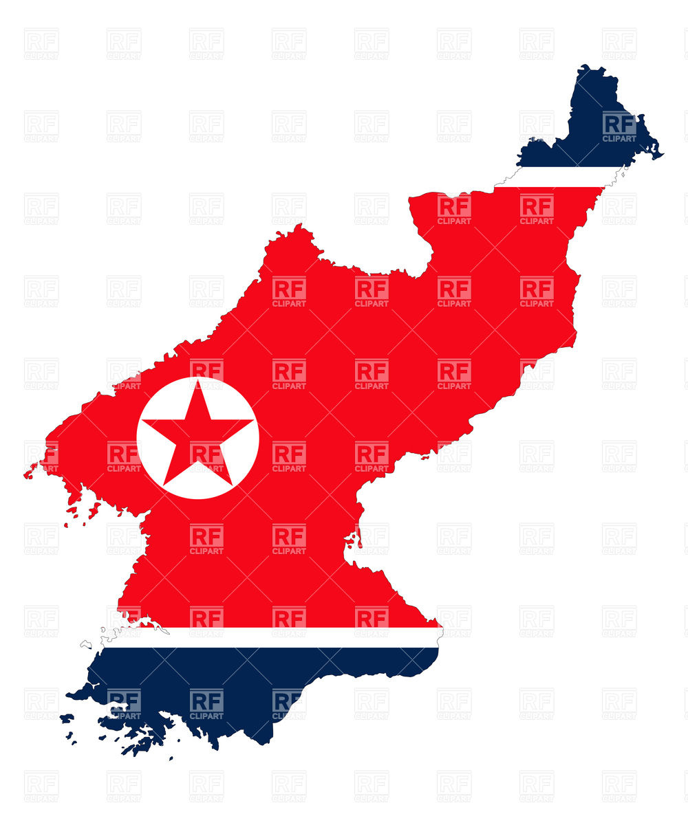 North Korea flag and map outline Vector Image #16346.