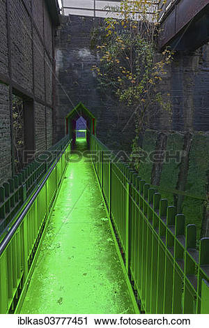 """Stock Photography of """"Illuminated former coal bunkers, disused."""