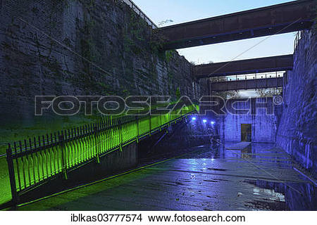 """Stock Photo of """"Illuminated former coal bunkers, disused."""