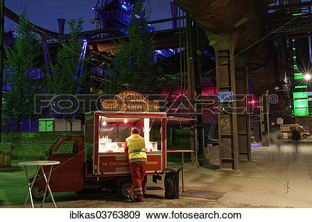 """Stock Photograph of """"Currywurst wagon in a disused steelworks."""