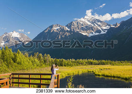 Stock Photograph of Chugach State Park, Eagle River Valley.