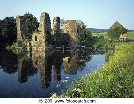 Stock Images of Old ruins of castle, Lindlar, Bergisches Land.