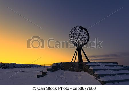 Stock Photography of North Cape, Norway at the northernmost point.