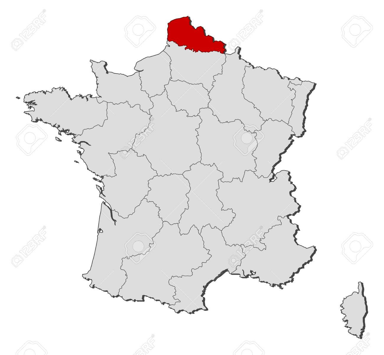 Political Map Of France With The Several Regions Where Nord.