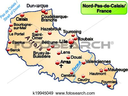 Clip Art of Map of North.