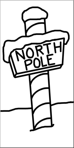 Clip Art: North Pole B&W I abcteach.com.