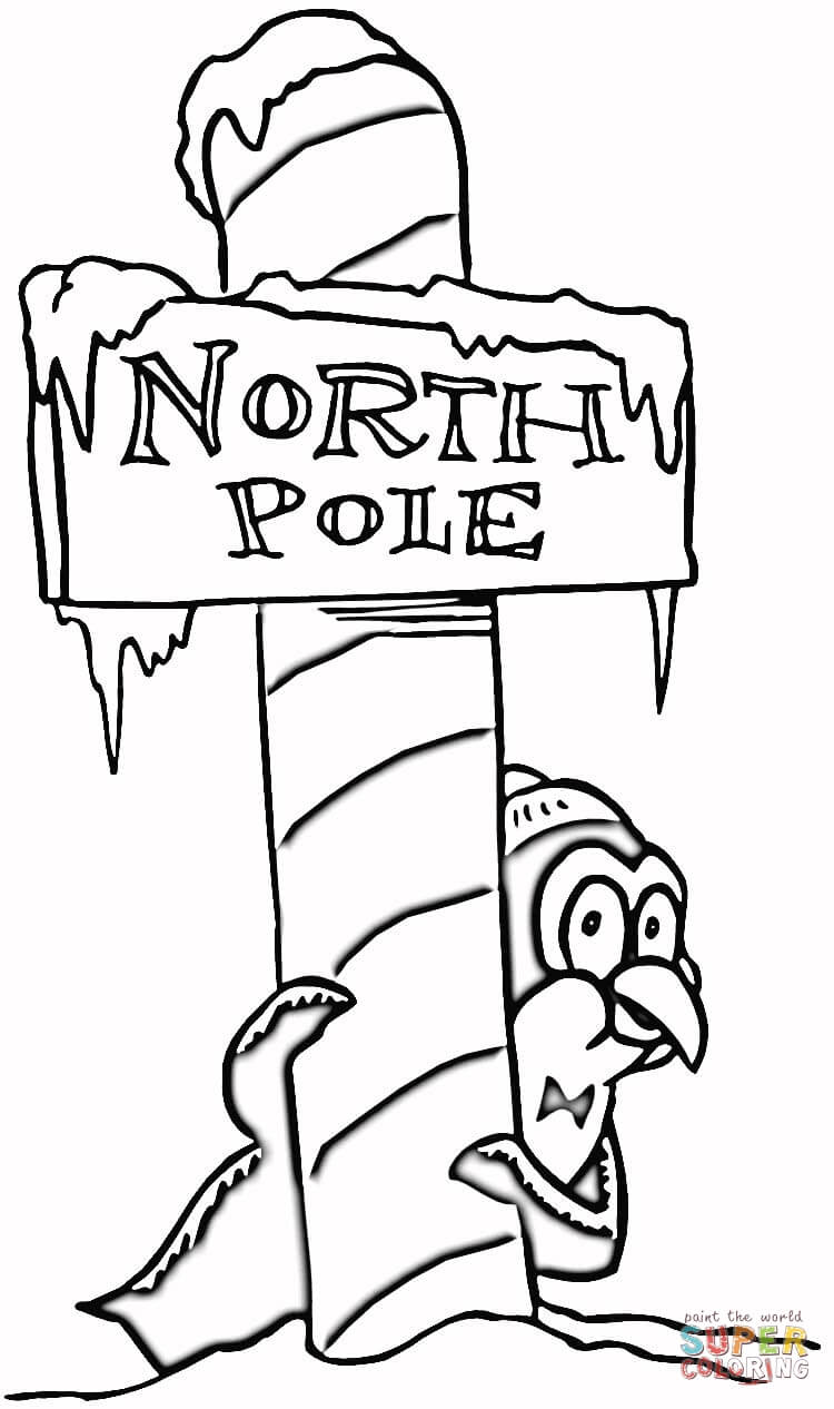 Christmas North Pole coloring page.