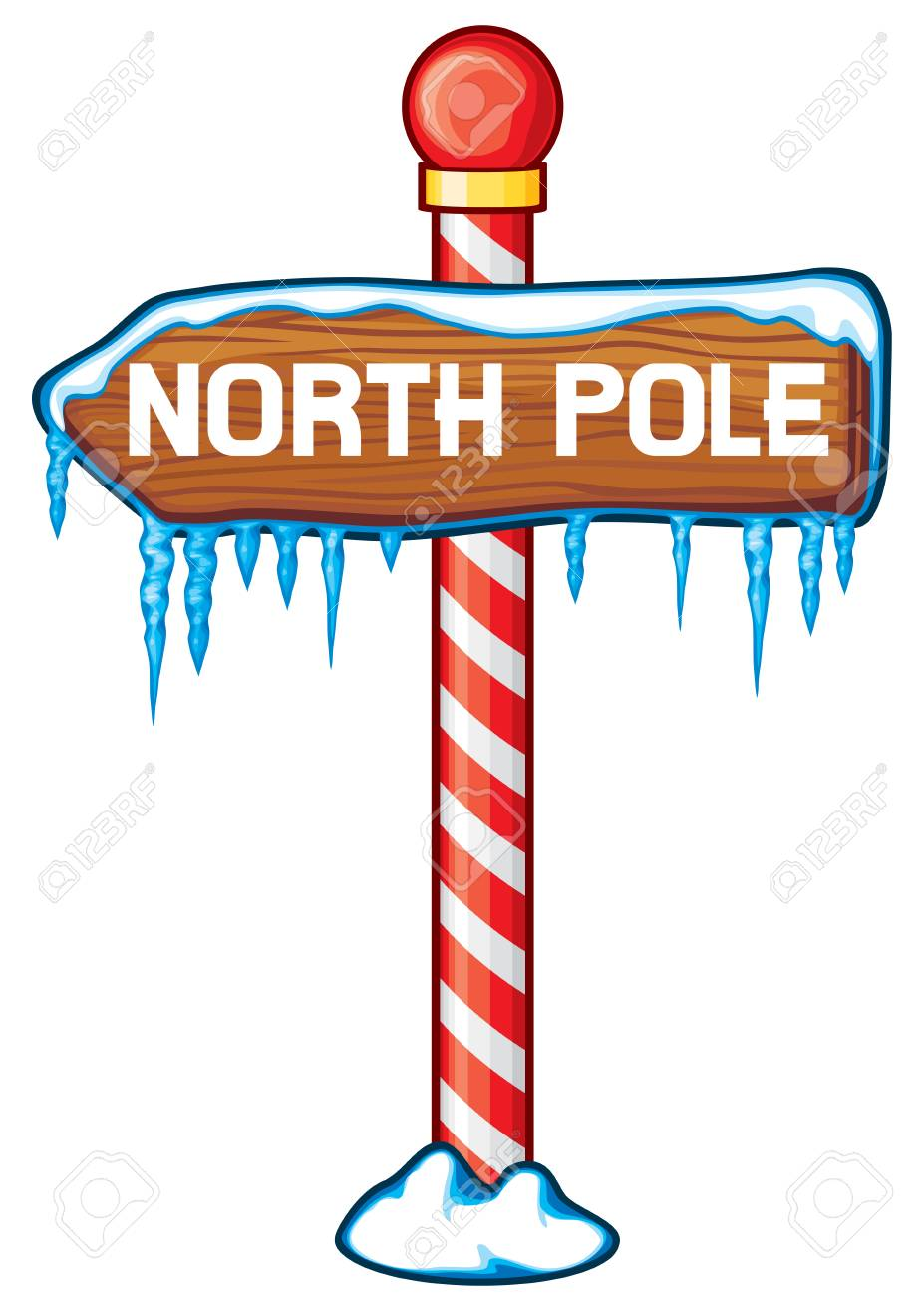 North Pole wooden sign vector illustration..