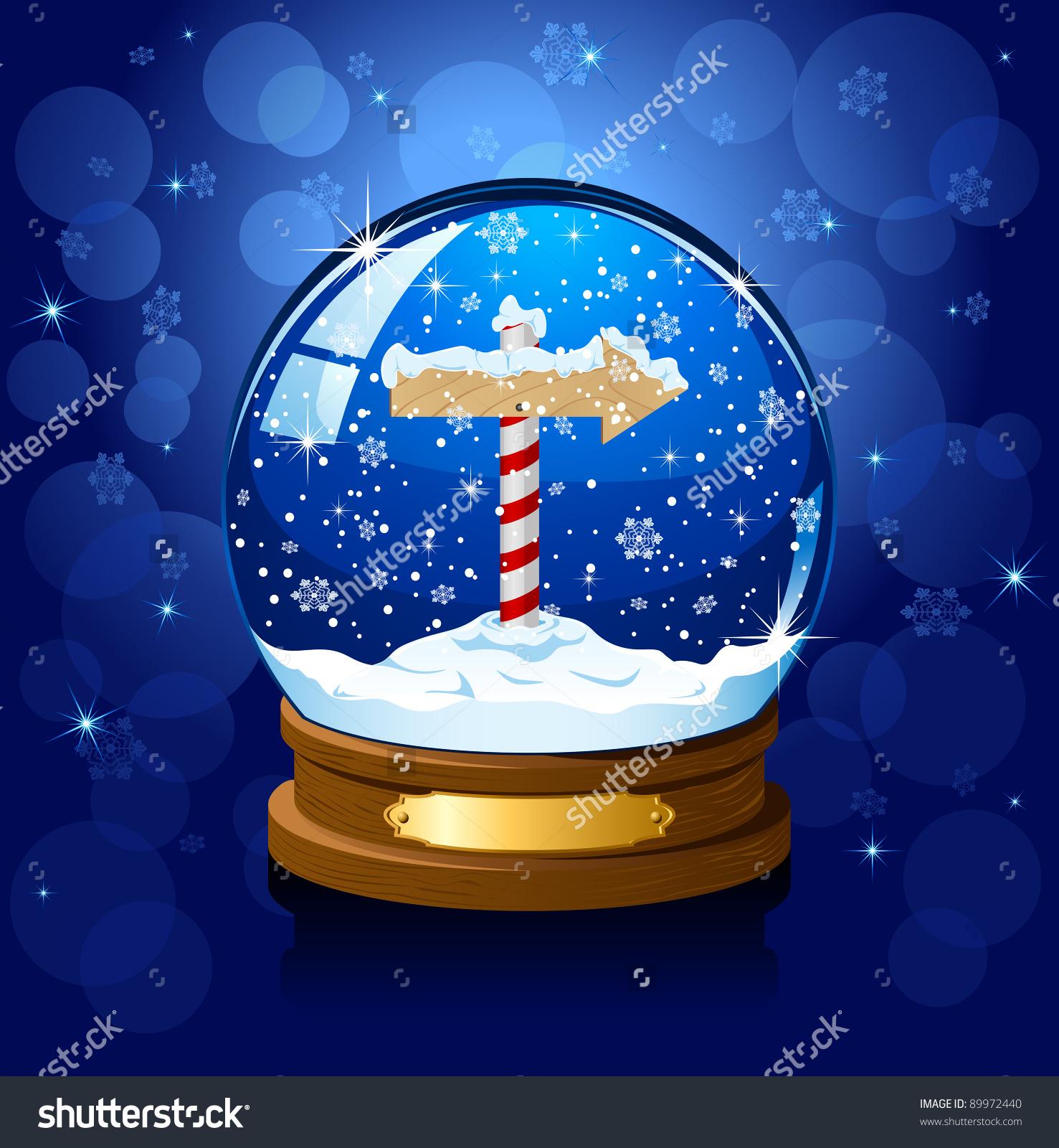 Christmas Snow Globe North Pole Sign Stock Illustration 89972440.