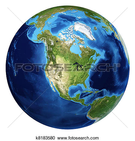 Stock Illustration of Earth globe, realistic 3 D rendering. Arctic.