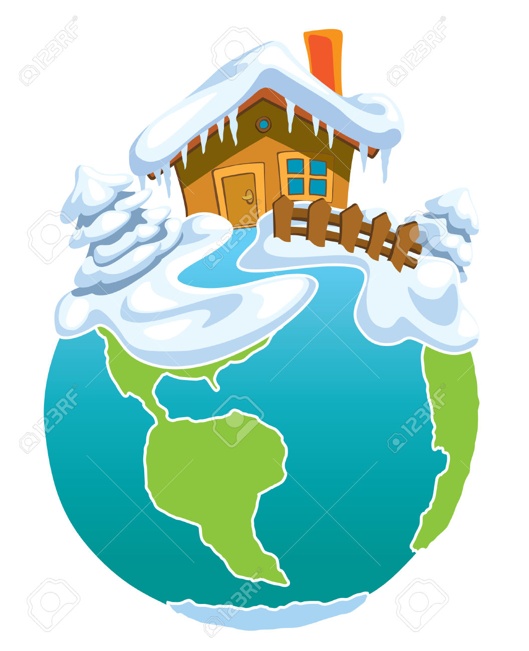 North Pole, Globe With Santa Claus House. Royalty Free Cliparts.