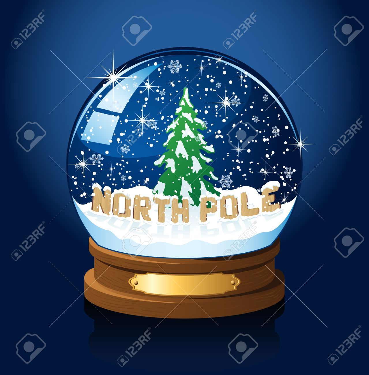 Snow Globe With North Pole, Christmas Tree And The Falling Snow.