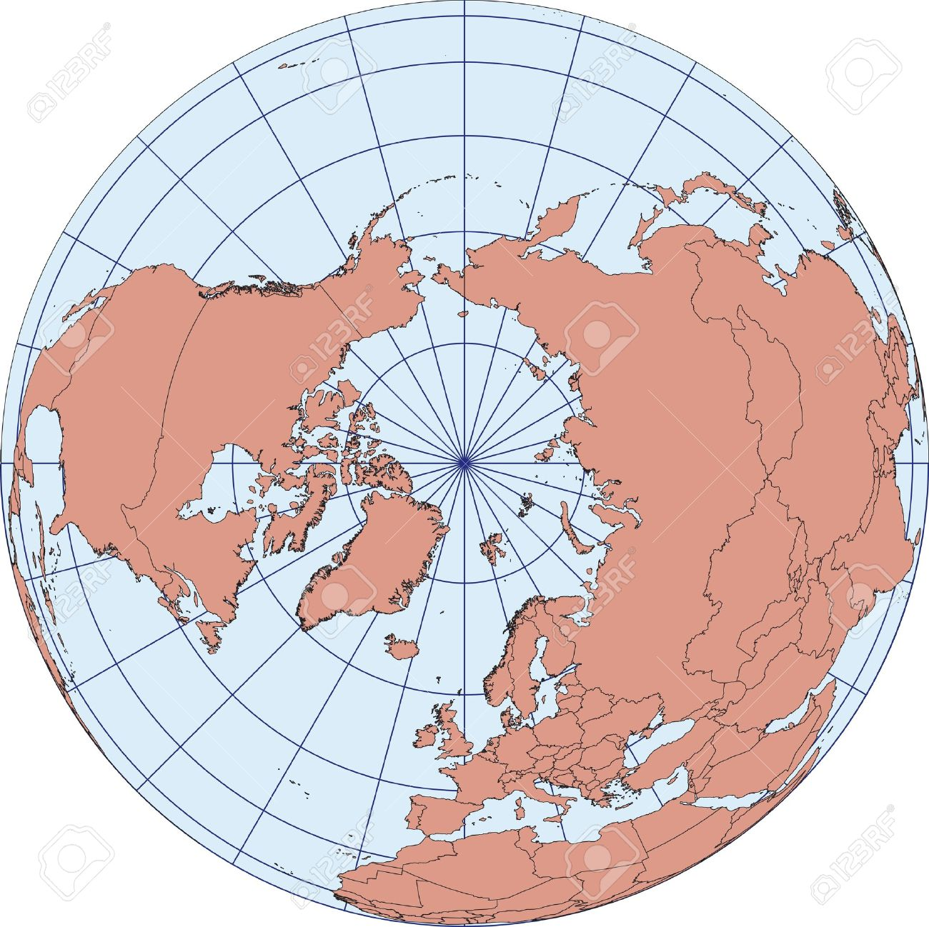 Globe Map Centered On The North Pole. Ortographic Projection.