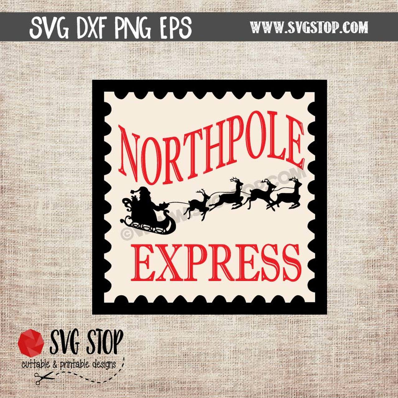 Northpole Express Postage Stamp SVG DXF EPS PNG Clipart Cut file.