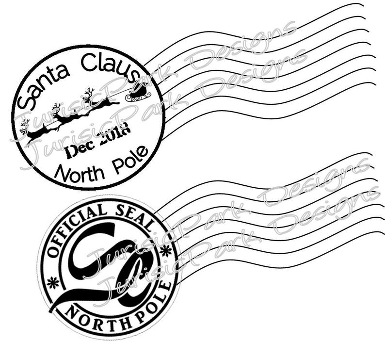 Christmas Santa 2018 stamp //North Pole Postage //png & jpeg //Clipart DIY  Letter from Santa Two stamps//postage stamps //Christmas stamp.