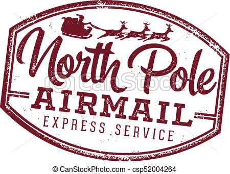North Pole Airmail Santa Letter Stamp.