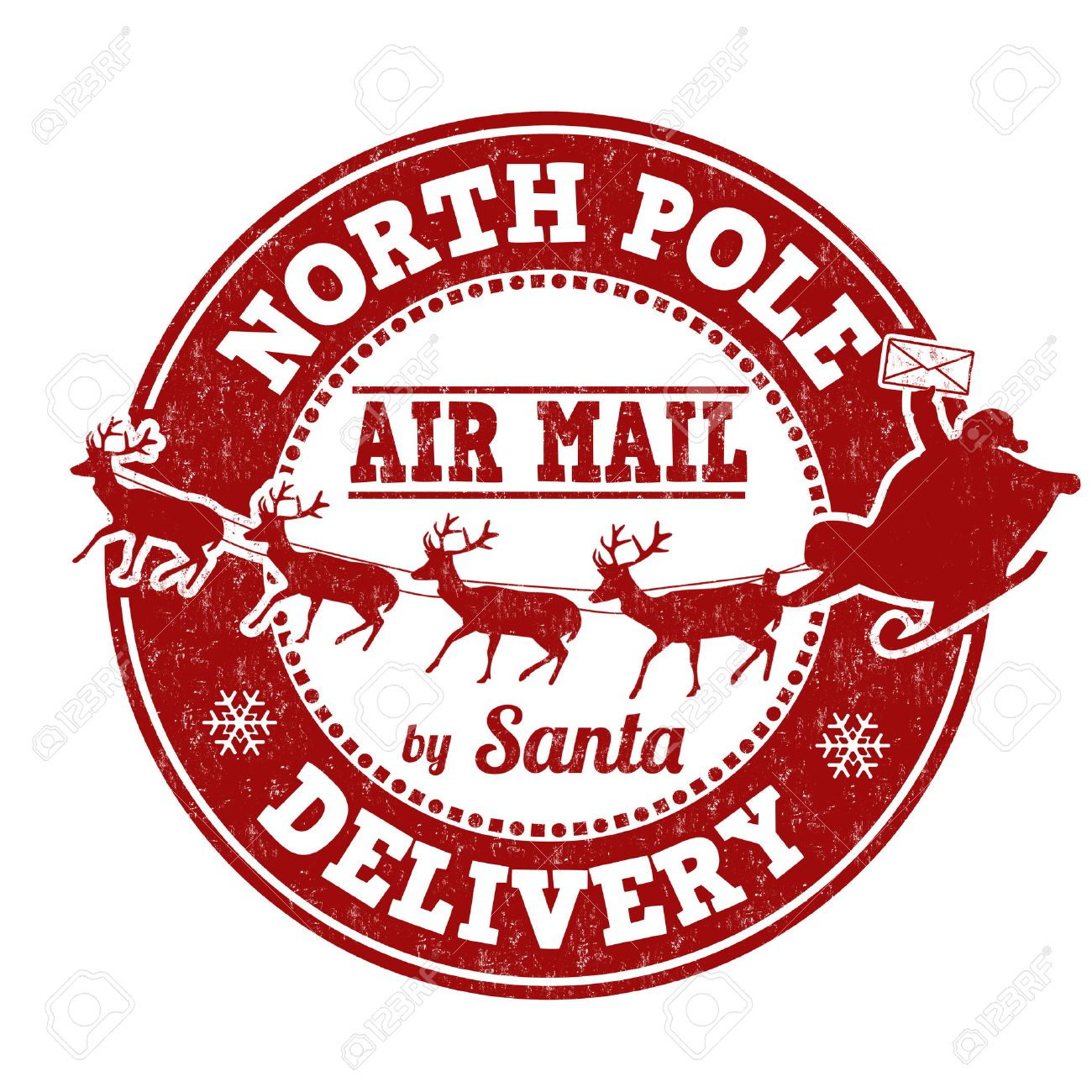 North Pole delivery grunge rubber stamp on white background,...