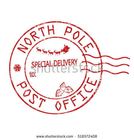 North Pole Postage Stamp Clipart.