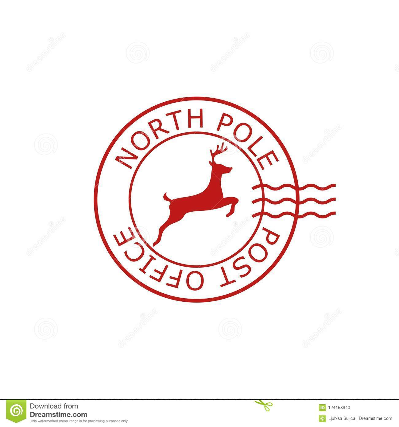 North Pole, Post Office Sign Or Stamp Stock Vector.