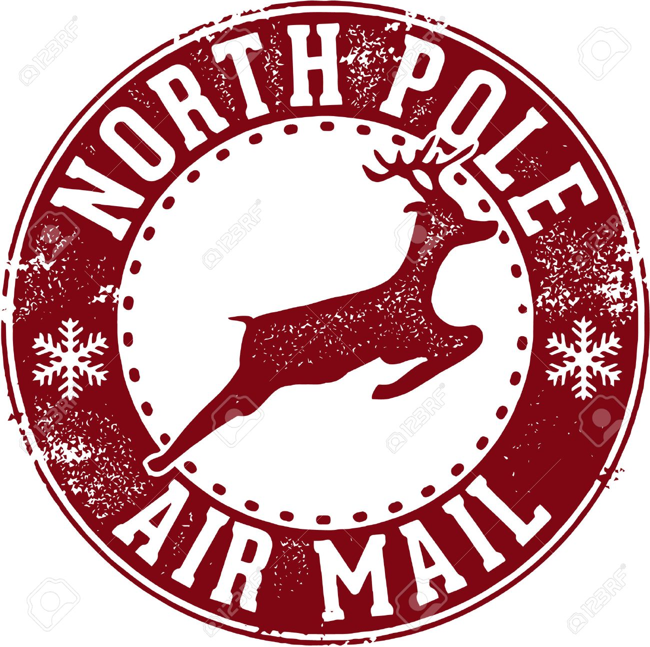 North Pole Air Mail Santa Postmark.