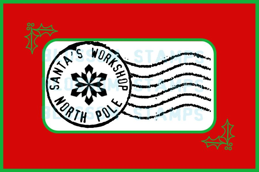 Christmas North Pole Postmark Cancellation Rubber Stamp.