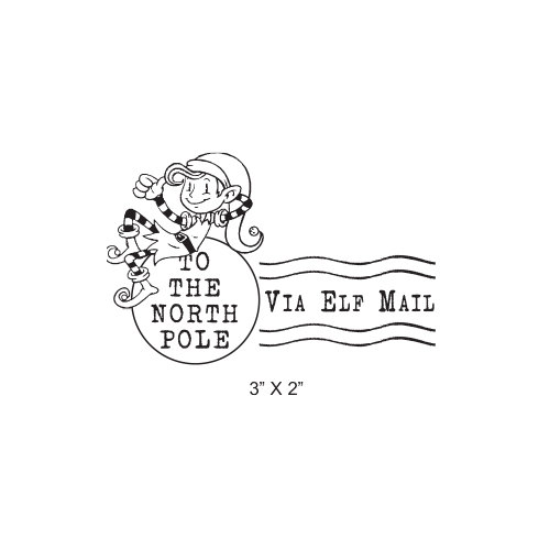 Elf Mail North Pole Postmark Christmas Rubber Stamp 453.