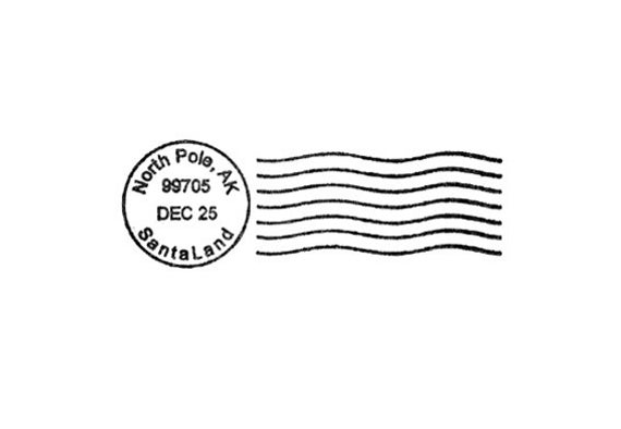 North Pole Santa Postmark for Christmas Rubber Stamp Postal Cancellation.