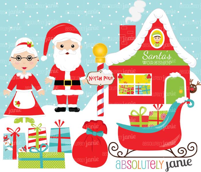Santa Workshop Christmas Clipart Set.