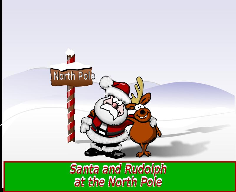 Free Clipart: Santa and Rudolph at the North Pole.