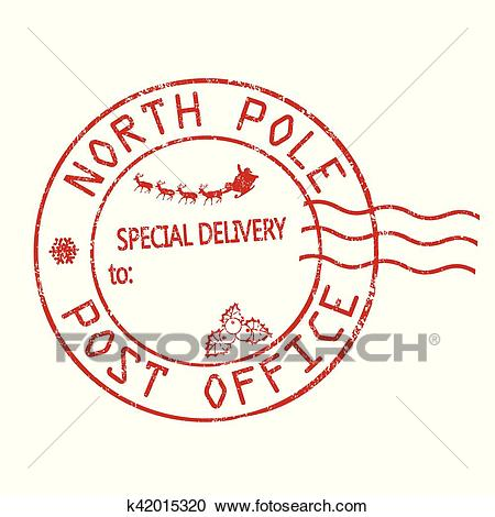 North Pole, post office sign or stamp Clipart.