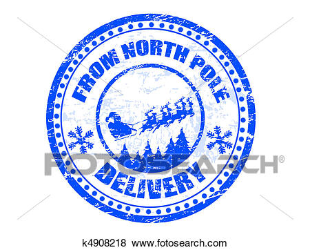 North Pole delivery stamp Clip Art.