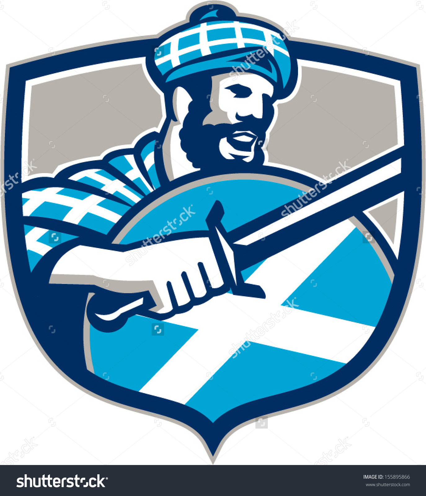Illustration Highlander Scotsman Wielding Sword Scotland Stock.