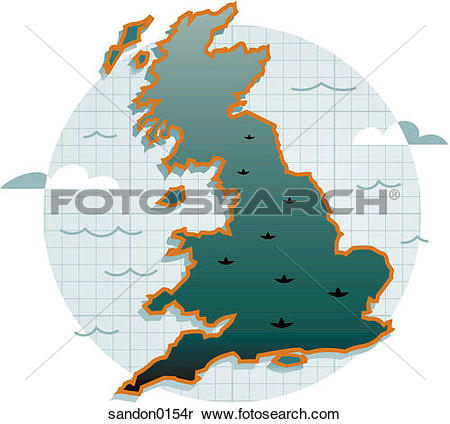 Stock Image of map, United Kingdom, England, Wales, Scotland.