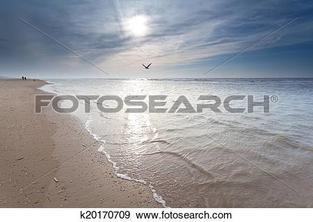 Stock Photograph of sunshine over North sea coast k20170709.