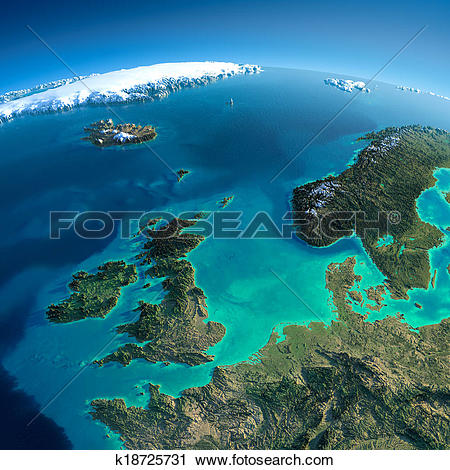 Clipart of Detailed Earth. United Kingdom and the North Sea.