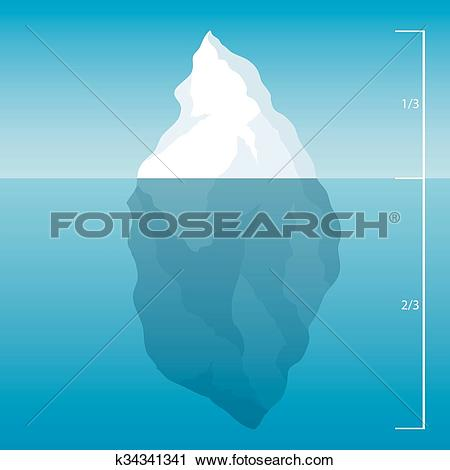 Clipart of iceberg in the North Sea. illustration background.
