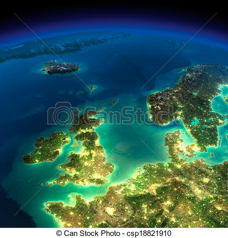 Clipart of Night Earth. United Kingdom and the North Sea.