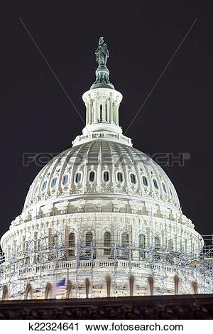 Stock Photography of US Capitol North Side Dome Construction Close.